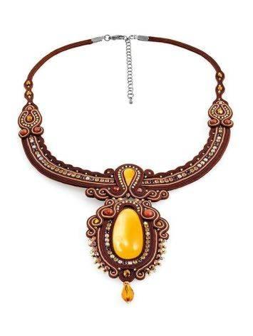 Плетёное колье «Индия», украшенное кристаллами и цельным медовым янтарём, фото , изображение 4