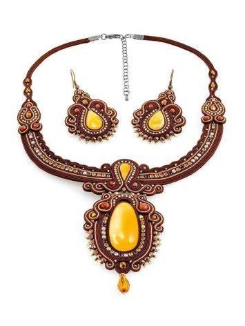 Плетёное колье «Индия», украшенное кристаллами и цельным медовым янтарём, фото , изображение 6