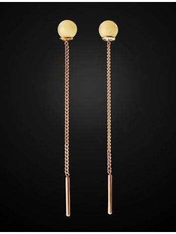Продевные серьги «Юпитер» из золота с натуральным медовым янтарём, фото , изображение 2