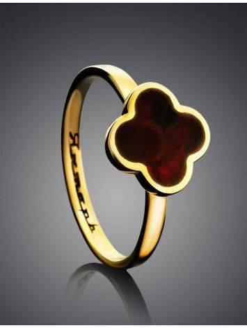 Позолоченное кольцо «Монако» Янтарь® с натуральным вишнёвым янтарём, Размер кольца: 16.5, фото , изображение 2