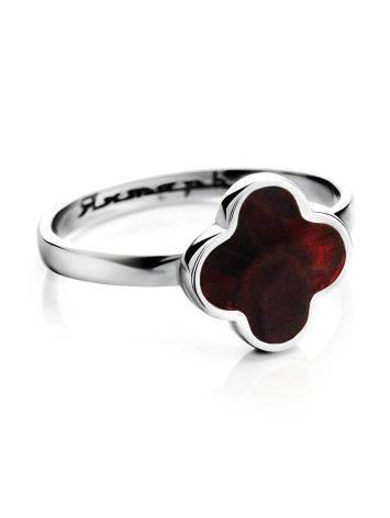 Изящное кольцо «Монако» Янтарь®  из серебра и натурального вишнёвого янтаря, Размер кольца: 16, фото , изображение 3