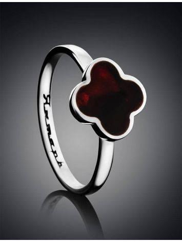 Изящное кольцо «Монако» Янтарь®  из серебра и натурального вишнёвого янтаря, Размер кольца: 16, фото , изображение 2