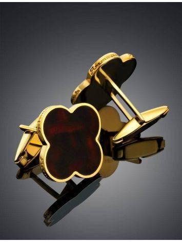 Элегантные запонки в классическом дизайне с вишнёвым янтарём «Монако» Янтарь®, фото , изображение 2