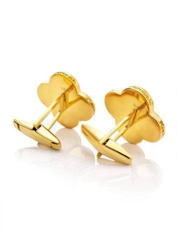 Яркие стильные и оригинальные запонки с медовым янтарём «Монако» Янтарь®, фото , изображение 3
