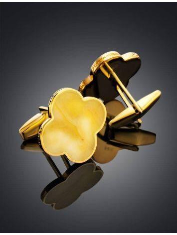 Яркие стильные и оригинальные запонки с медовым янтарём «Монако» Янтарь®, фото , изображение 2