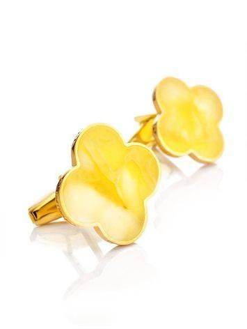 Яркие стильные и оригинальные запонки с медовым янтарём «Монако» Янтарь®, фото , изображение 4