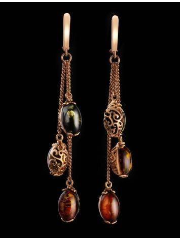 Удлинённые ажурные серьги из золоченного серебра и янтаря «Касабланка», фото , изображение 2