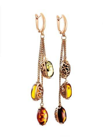 Удлинённые ажурные серьги из золоченного серебра и янтаря «Касабланка», фото , изображение 3