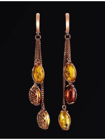 Изысканные серьги из золоченного серебра с натуральным янтарём «Касабланка», фото , изображение 2