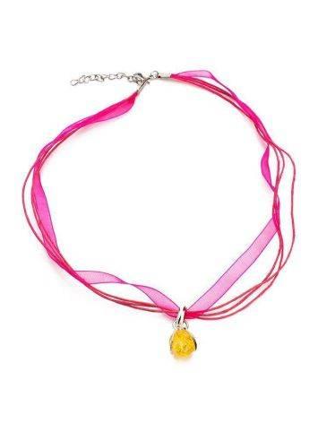 Ярко-розовый чокер с подвеской из серебра и янтаря «Валенсия», фото , изображение 3