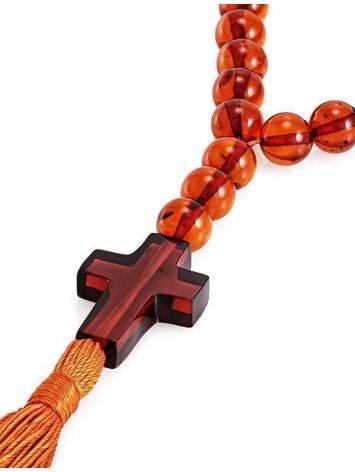 Православные чётки с 33 бусинами-шарами и резным крестом из натурального цельного янтаря коньячного цвета, фото , изображение 3