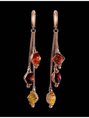 Изящные серьги из позолоченного серебра и цельного янтаря «Касабланка», фото , изображение 2