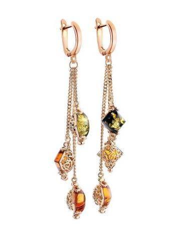 Красивые серьги «Касабланка» с янтарём двух цветов, фото , изображение 4