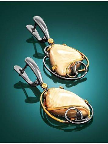 Изящные серьги из серебра с позолотой и бивня мамонта «Эра», фото , изображение 2