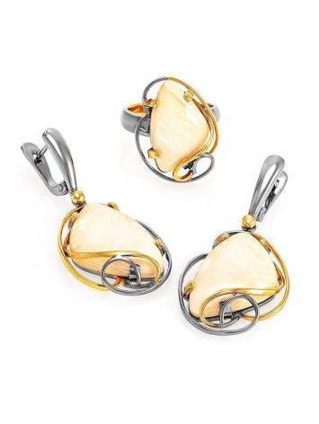 Изящные серьги из серебра с позолотой и бивня мамонта «Эра», фото , изображение 4