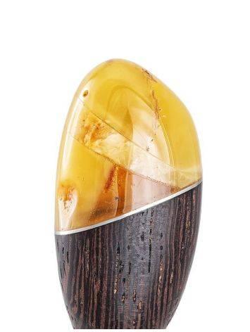 Китайская шпилька для волос из древесины венге и натурального балтийского янтаря, фото , изображение 4