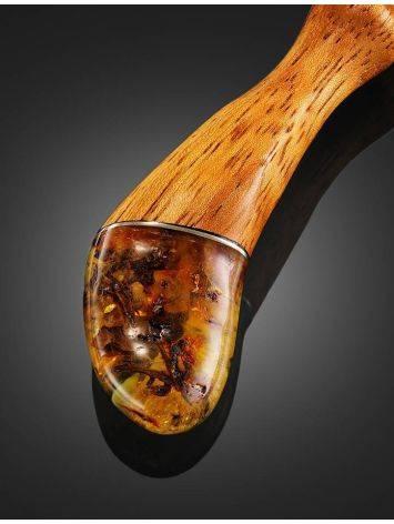 Длинная шпилька для волос с натуральным балтийским янтарём, фото , изображение 2