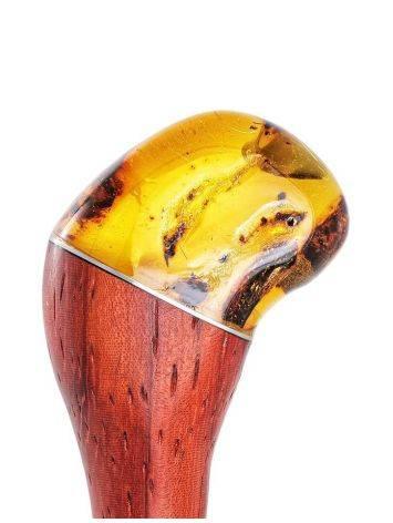 Эффектная яркая шпилька из древесины падука и натурального янтаря, фото , изображение 4