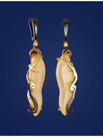 Элегантные серьги из серебра с позолотой и бивня мамонта «Эра», фото , изображение 3
