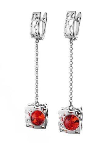 Эффектные удлинённые серьги из серебра и янтаря вишнёвого цвета «Женева», фото , изображение 4