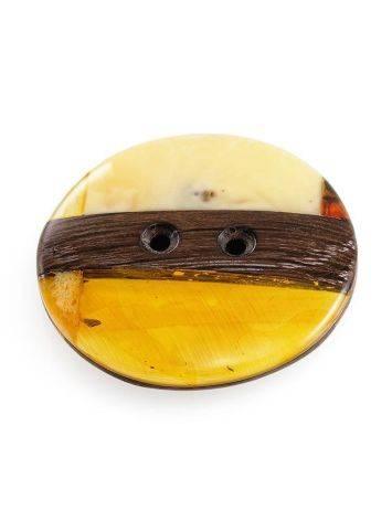 Пуговица ручной работы из дерева и натурального янтаря «Индонезия», фото , изображение 3
