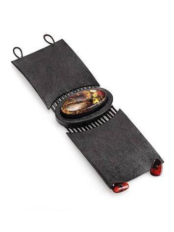 Широкий кожаный браслет с цельным искрящимся янтарём «Амазонка», фото , изображение 3