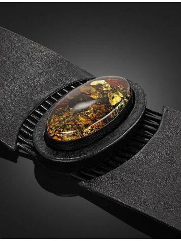 Широкий кожаный браслет с цельным искрящимся янтарём «Амазонка», фото , изображение 2