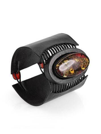 Широкий кожаный браслет с цельным искрящимся янтарём «Амазонка», фото , изображение 4
