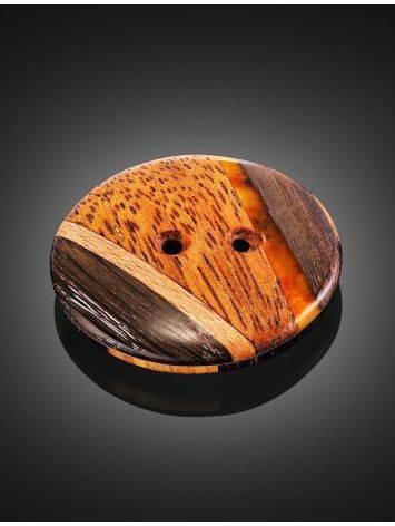Пуговица ручной работы из дерева и натурального янтаря «Индонезия», фото , изображение 4