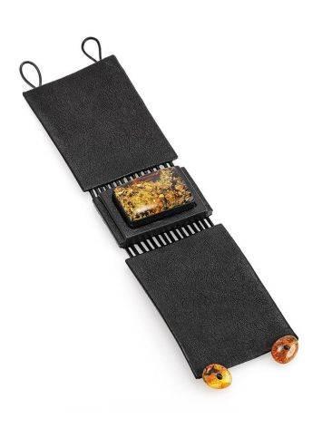 Стильный браслет из натуральной кожи с искрящимся янтарём «Амазонка», фото , изображение 4