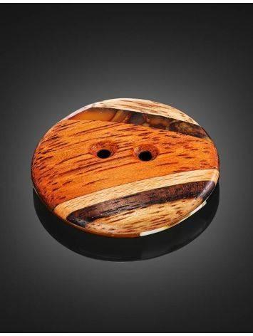 Пуговица ручной работы из дерева и натурального янтаря «Индонезия», фото , изображение 2
