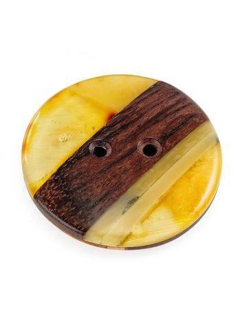 Пуговица ручной работы из дерева и натурального янтаря «Индонезия», фото , изображение 6