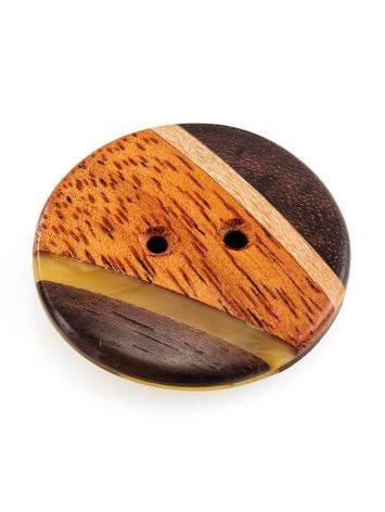 Пуговица ручной работы из дерева и натурального янтаря «Индонезия», фото , изображение 7