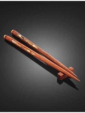 Эксклюзивные китайские палочки для еды из натурального балтийского янтаря и красного дерева, фото , изображение 2