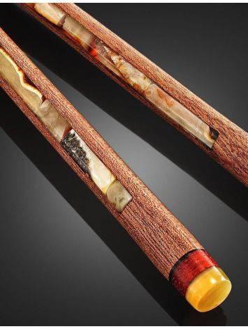 Эксклюзивные китайские палочки для еды из натурального балтийского янтаря и красного дерева, фото , изображение 4