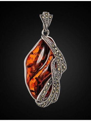 Нарядный кулон из серебра с цельным янтарём и марказитами Colorado, фото , изображение 3