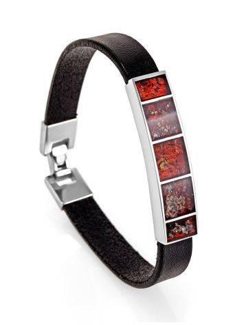 Браслет в стиле унисекс из кожи, серебра и натурального янтаря London, фото , изображение 4