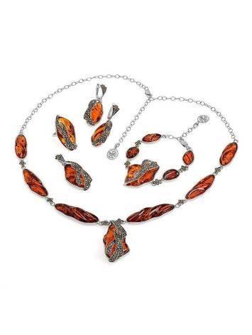 Удлинённая подвеска Colorado c цельным янтарём и марказитами, фото , изображение 4