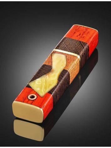 Стильный кулон-флешка «Индонезия» из древесины и янтаря, фото , изображение 4