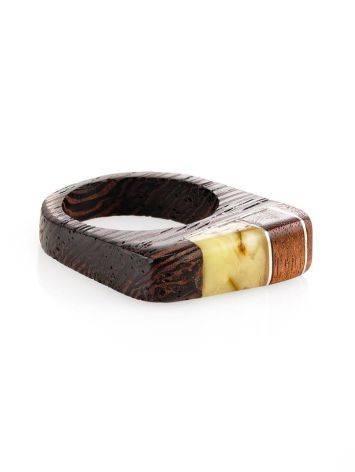 Стильное кольцо из дерева с цельным медовым янтарём «Индонезия», Размер кольца: 18, фото , изображение 3