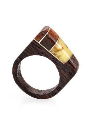Стильное кольцо из дерева с цельным медовым янтарём «Индонезия», Размер кольца: 18, фото , изображение 4