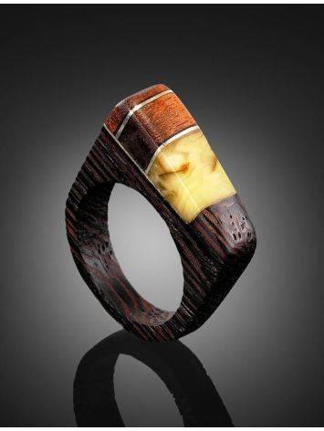 Стильное кольцо из дерева с цельным медовым янтарём «Индонезия», Размер кольца: 18, фото , изображение 2