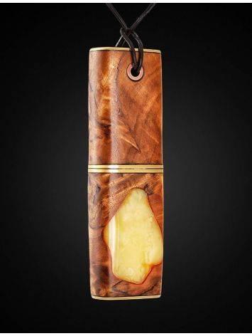 Флеш-карта в виде кулона из дерева и натурального янтаря «Индонезия», фото , изображение 2