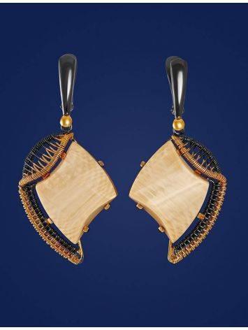 Стильные серьги из позолоченного серебра с бивнем мамонта «Эра», фото , изображение 3