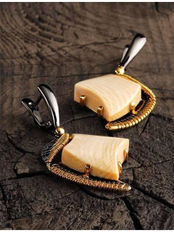 Стильные серьги из позолоченного серебра с бивнем мамонта «Эра», фото , изображение 2