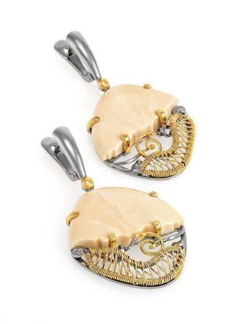 Эффектные серьги «Эра» из серебра с золочением и кости мамонта, фото , изображение 3