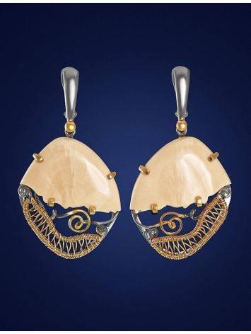Эффектные серьги «Эра» из серебра с золочением и кости мамонта, фото , изображение 2