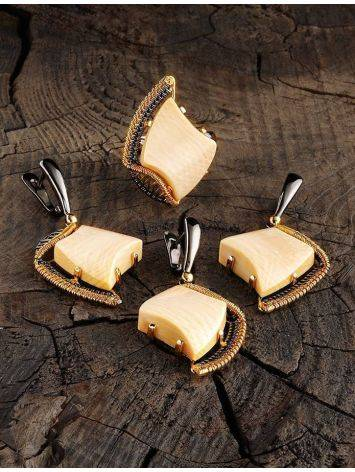 Стильные серьги из позолоченного серебра с бивнем мамонта «Эра», фото , изображение 4