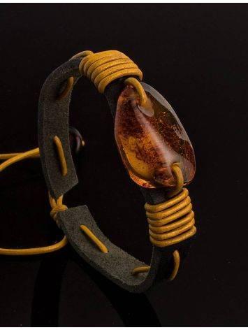 Браслет из кожи контрастных цветов с натуральным цельным янтарём «Копакабана», фото , изображение 2