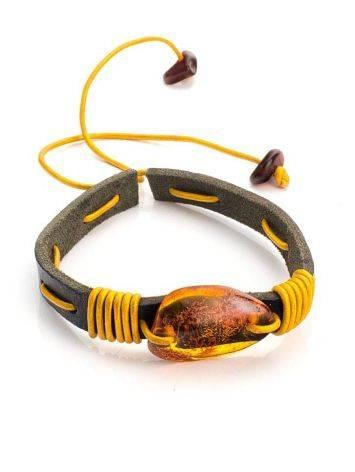 Браслет из кожи контрастных цветов с натуральным цельным янтарём «Копакабана», фото , изображение 3